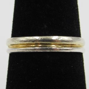 Size 7 Sterling Silver Gold Tone Line Band Ring